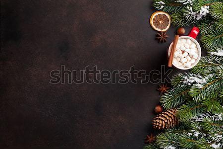 Christmas fir tree, hot chocolate and marshmallow Stock photo © karandaev
