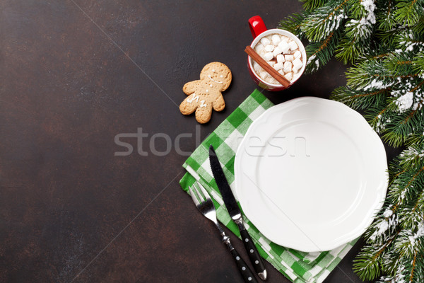 Рождества обеда пластина столовое серебро горячий шоколад Сток-фото © karandaev