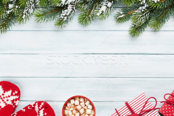 Christmas fir tree, gift boxes, hot chocolate Stock photo © karandaev