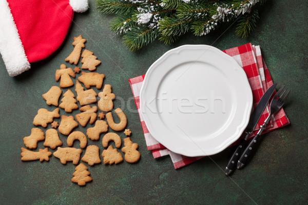 ストックフォト: クリスマス · ディナー · プレート · 銀食器 · クッキー