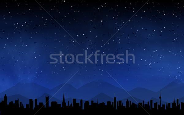 Skyline глубокий ночное небо многие звезды бизнеса Сток-фото © karandaev