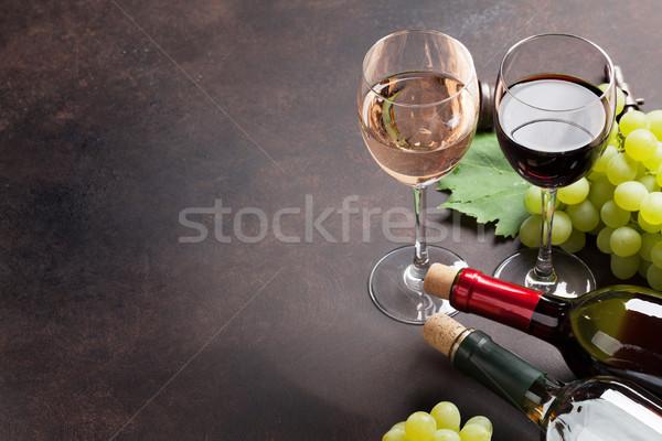 ワイングラス ブドウ 石 表 スペース ワイン ストックフォト © karandaev