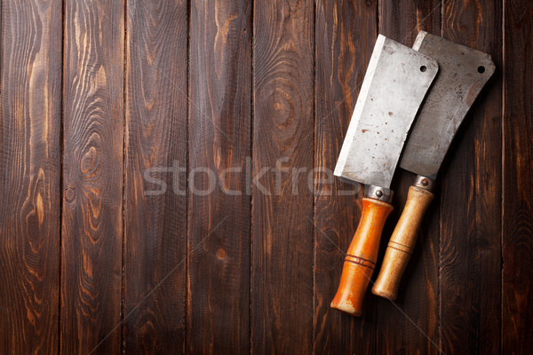 肉屋 ヴィンテージ 肉 ナイフ 木板 先頭 ストックフォト © karandaev