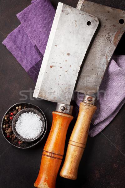 Butcher. Vintage meat knives and spices Stock photo © karandaev
