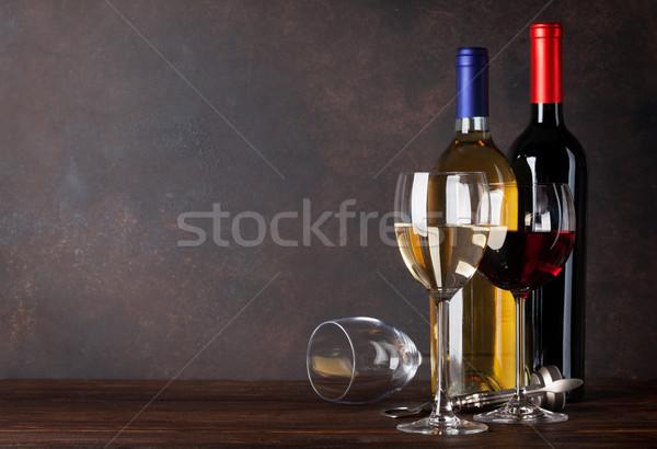 赤 白ワイン ボトル 眼鏡 黒板 壁 ストックフォト © karandaev