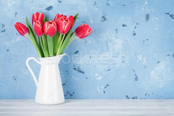 Stockfoto: Rood · tulp · bloemen · boeket · stenen · muur · Pasen