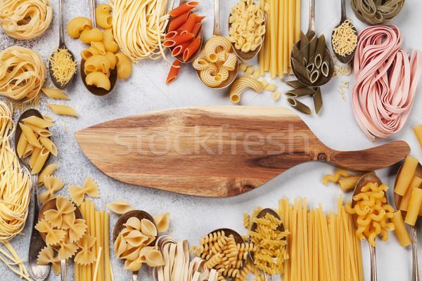 ストックフォト: パスタ · まな板 · 料理 · 先頭 · 表示