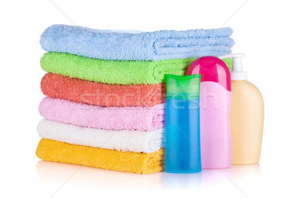 Stock fotó: Kozmetika · üvegek · színes · törölközők · izolált · fehér