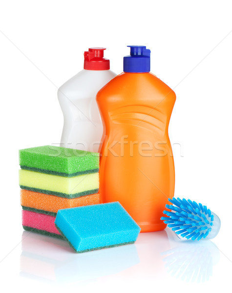 Plastique bouteilles produits de nettoyage brosse isolé blanche Photo stock © karandaev