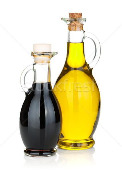 Aceite de oliva vinagre botellas aislado blanco fondo Foto stock © karandaev