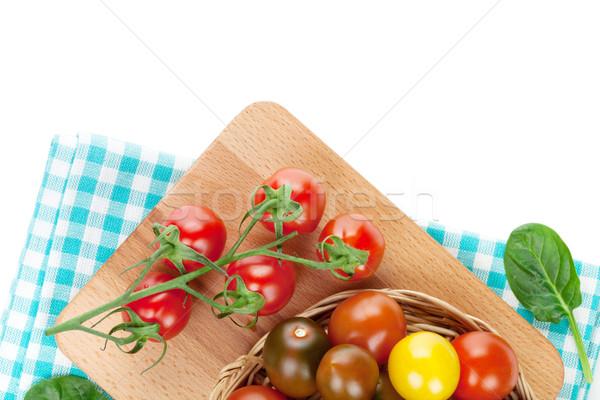 красочный помидоры черри разделочная доска изолированный белый Сток-фото © karandaev