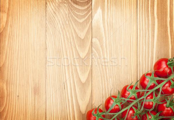 помидоры черри деревянный стол копия пространства древесины лист фон Сток-фото © karandaev