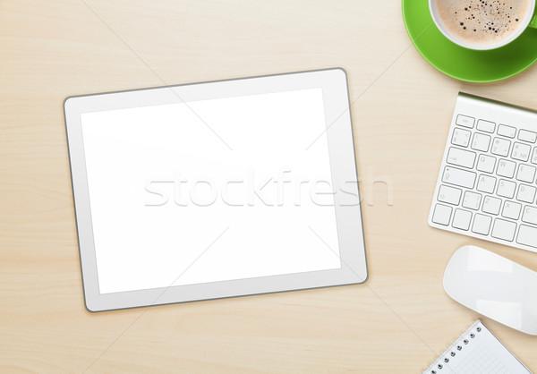 Foto stock: Oficina · mesa · tableta · bloc · de · notas · ordenador · taza · de · café