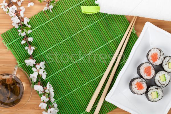 Sushi conjunto sakura ramo bambu Foto stock © karandaev