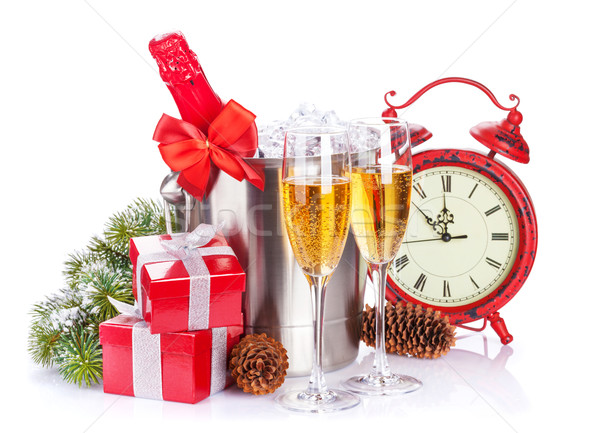 Champán cajas de regalo Navidad reloj aislado blanco Foto stock © karandaev