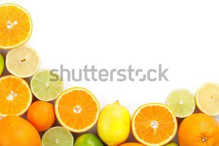 Narenciye meyve portakal limon yalıtılmış beyaz Stok fotoğraf © karandaev