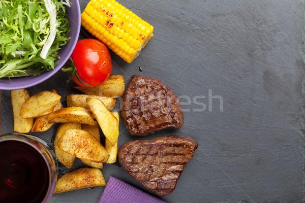 Сток-фото: гриль · картофеля · кукурузы · Салат