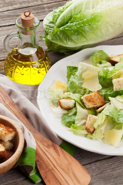Fresh healthy caesar salad Stock photo © karandaev
