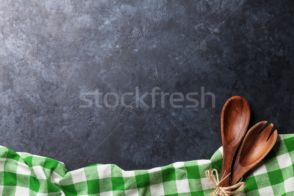 Kitchen table with towel and utensil Stock photo © karandaev