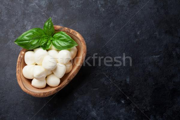 Mozzarella peynir fesleğen ot yaprakları taş Stok fotoğraf © karandaev