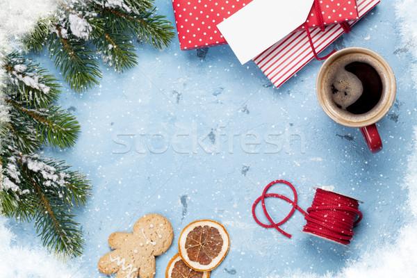 Christmas kawy kamień tabeli Zdjęcia stock © karandaev