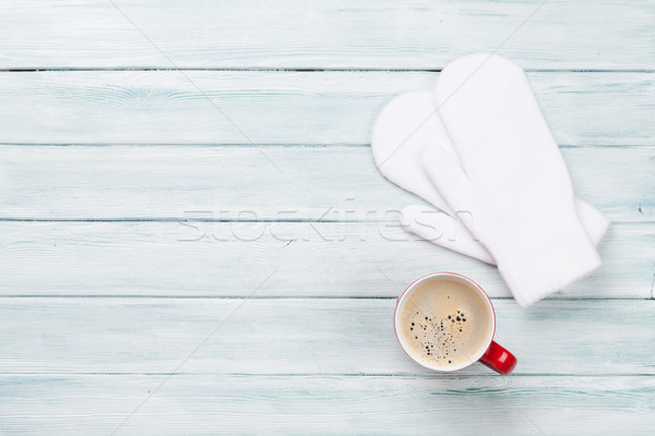 Christmas background with coffee and mittens Stock photo © karandaev