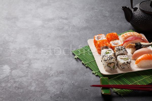 набор суши маки катиться зеленый чай каменные Сток-фото © karandaev