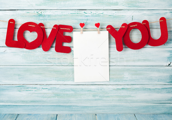 Valentines day greeting card with love you words Stock photo © karandaev