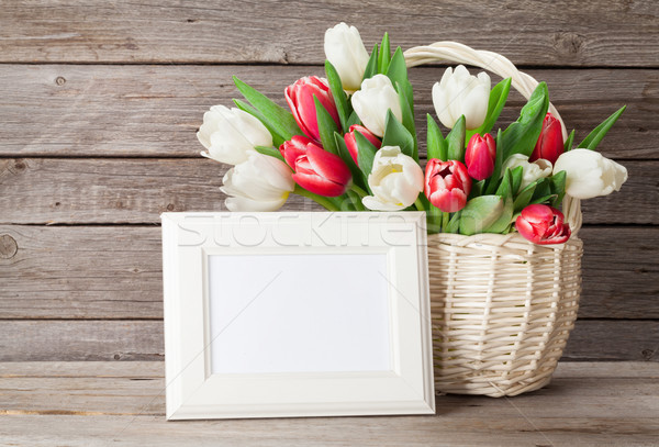 Fresh tulip flowers bouquet and photo frame Stock photo © karandaev