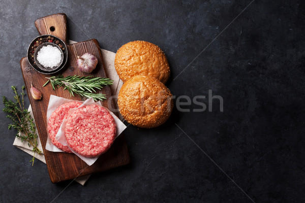 Sabroso a la parrilla cocina superior vista Foto stock © karandaev