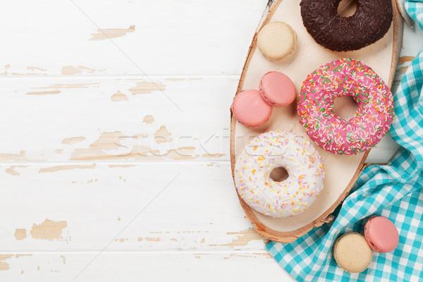 Donuts houten tafel top ruimte frame Stockfoto © karandaev