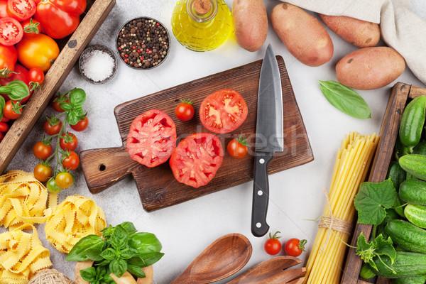 свежие саду помидоров огурцы пасты приготовления Сток-фото © karandaev