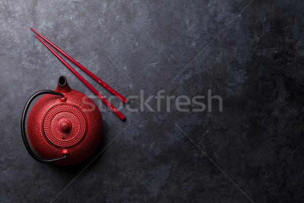 Kırmızı çay pot sushi Çin yemek çubukları üst Stok fotoğraf © karandaev