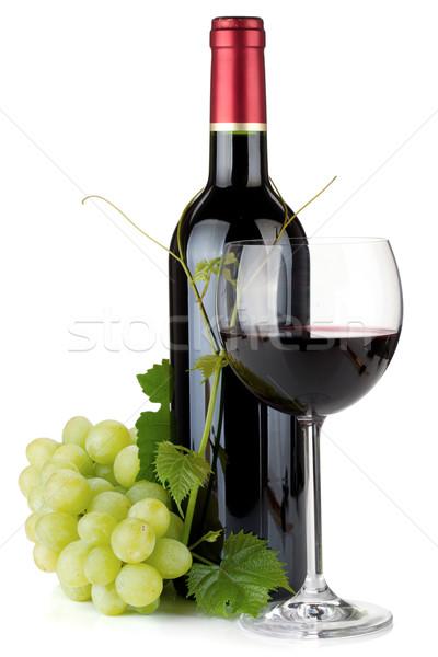 Сток-фото: стекла · бутылку · виноград · изолированный · белый