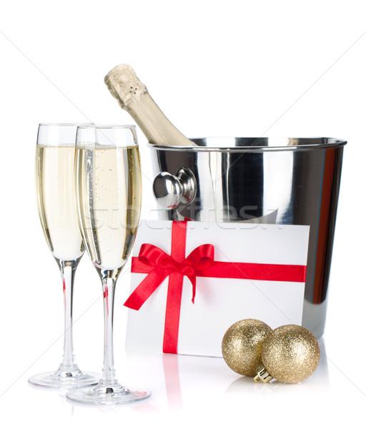Champagner Schreiben Weihnachten isoliert weiß Liebe Stock foto © karandaev