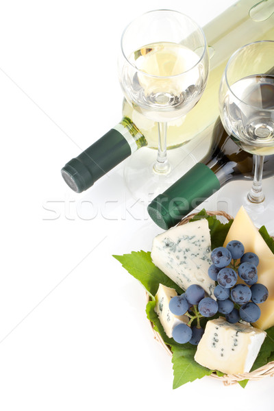 White wine, cheese and grape Stock photo © karandaev