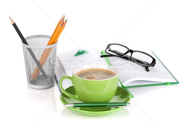 緑 コーヒーカップ 眼鏡 事務用品 孤立した 白 ストックフォト © karandaev