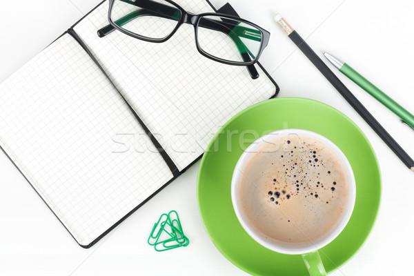 Stock fotó: Kávéscsésze · irodaszerek · közelkép · üzlet · iroda · toll