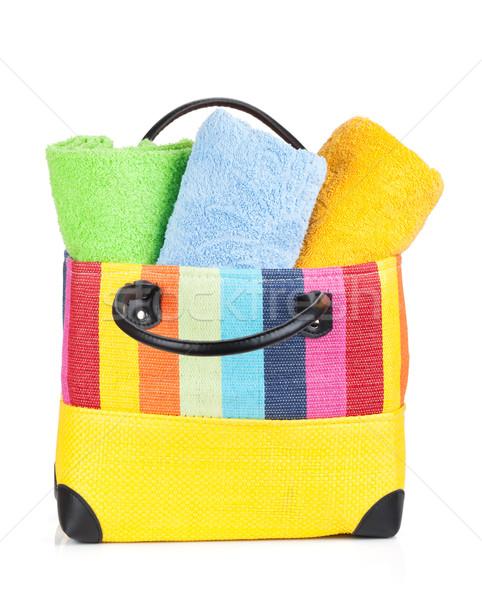 Beach bag with towels Stock photo © karandaev