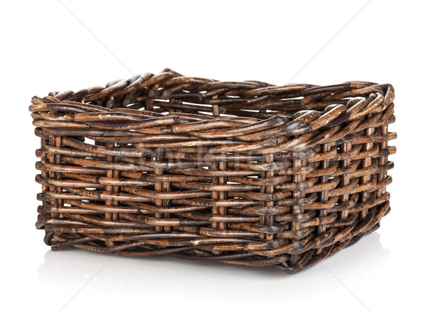 Pusty wiklina koszyka odizolowany biały Wielkanoc Zdjęcia stock © karandaev