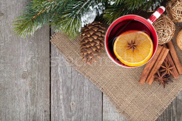 Christmas mulled wine with fir tree and decor Stock photo © karandaev