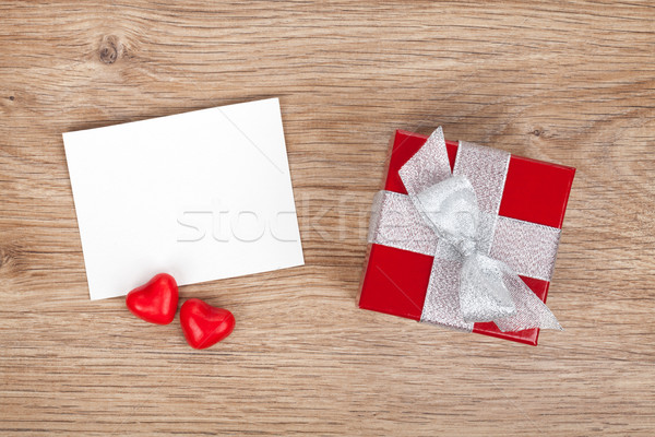 Blank valentines greeting card and small red gift box Stock photo © karandaev