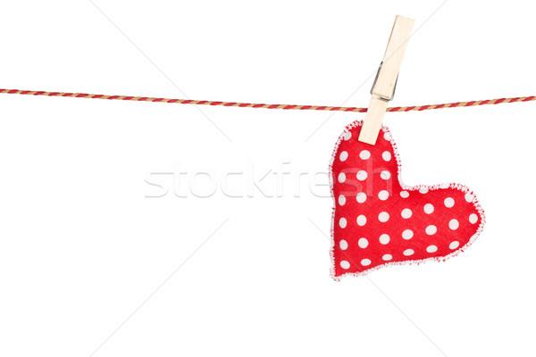 Szív alakú játék akasztás izolált fehér Stock fotó © karandaev