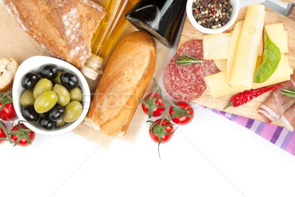 Stockfoto: Kaas · prosciutto · brood · groenten · specerijen · geïsoleerd
