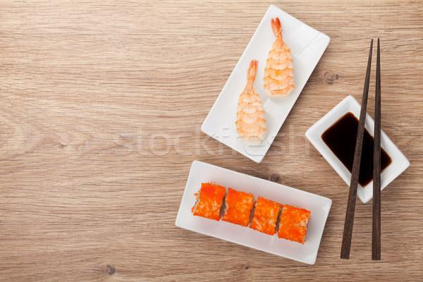 Stock photo: Sushi maki and shrimp sushi