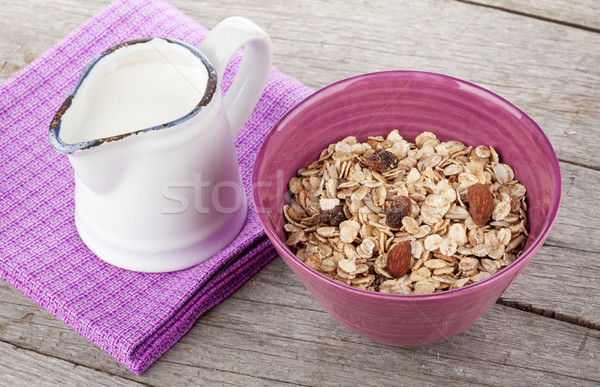 朝食 ミューズリー ミルク 木製のテーブル 表 ドリンク ストックフォト © karandaev
