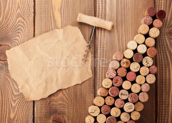 Borosüveg alakú dugóhúzó darab papír copy space Stock fotó © karandaev