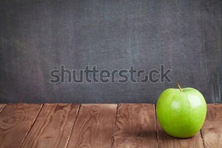 Stock fotó: Alma · gyümölcs · osztályterem · asztal · iskolatábla · kilátás