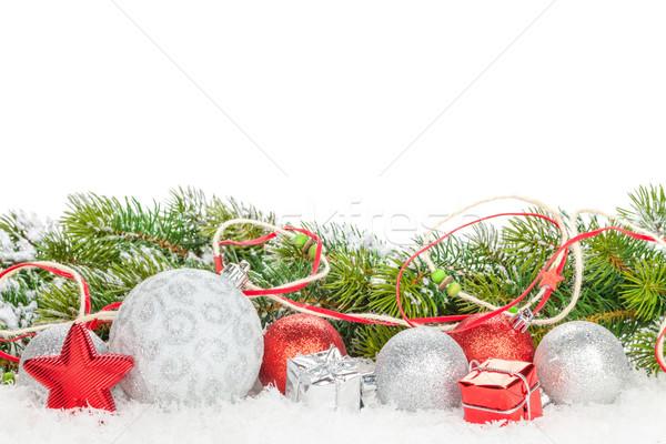 Stock foto: Weihnachten · farbenreich · Dekor · Schnee · isoliert