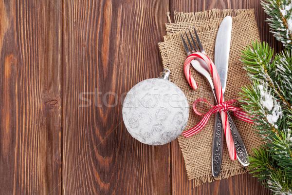 Stok fotoğraf: Noel · ahşap · kar · ağaç · gıda